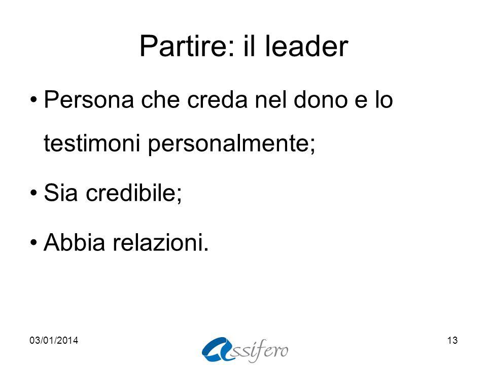 Partire: il leader Persona che creda nel dono e lo testimoni personalmente; Sia credibile; Abbia relazioni. 03/01/201413