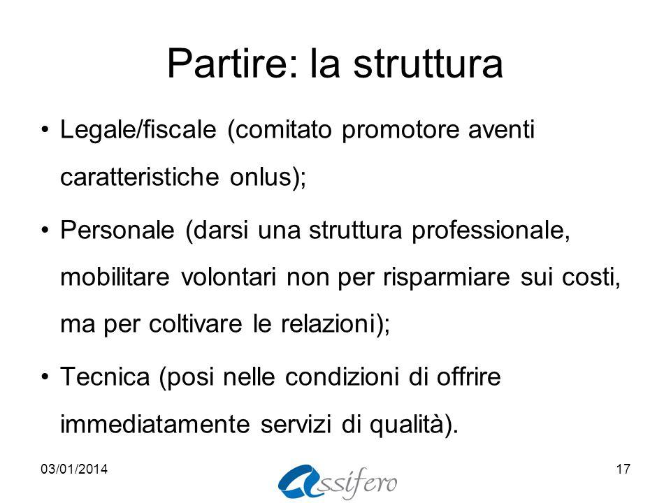 Partire: la struttura Legale/fiscale (comitato promotore aventi caratteristiche onlus); Personale (darsi una struttura professionale, mobilitare volon