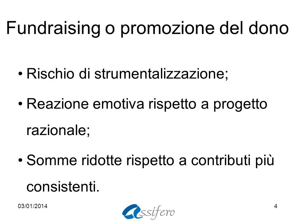 Fundraising o promozione del dono Rischio di strumentalizzazione; Reazione emotiva rispetto a progetto razionale; Somme ridotte rispetto a contributi