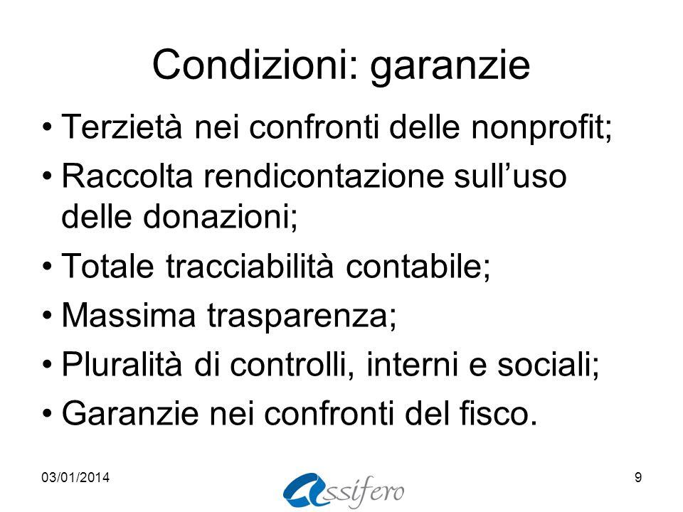 Condizioni: garanzie Terzietà nei confronti delle nonprofit; Raccolta rendicontazione sulluso delle donazioni; Totale tracciabilità contabile; Massima