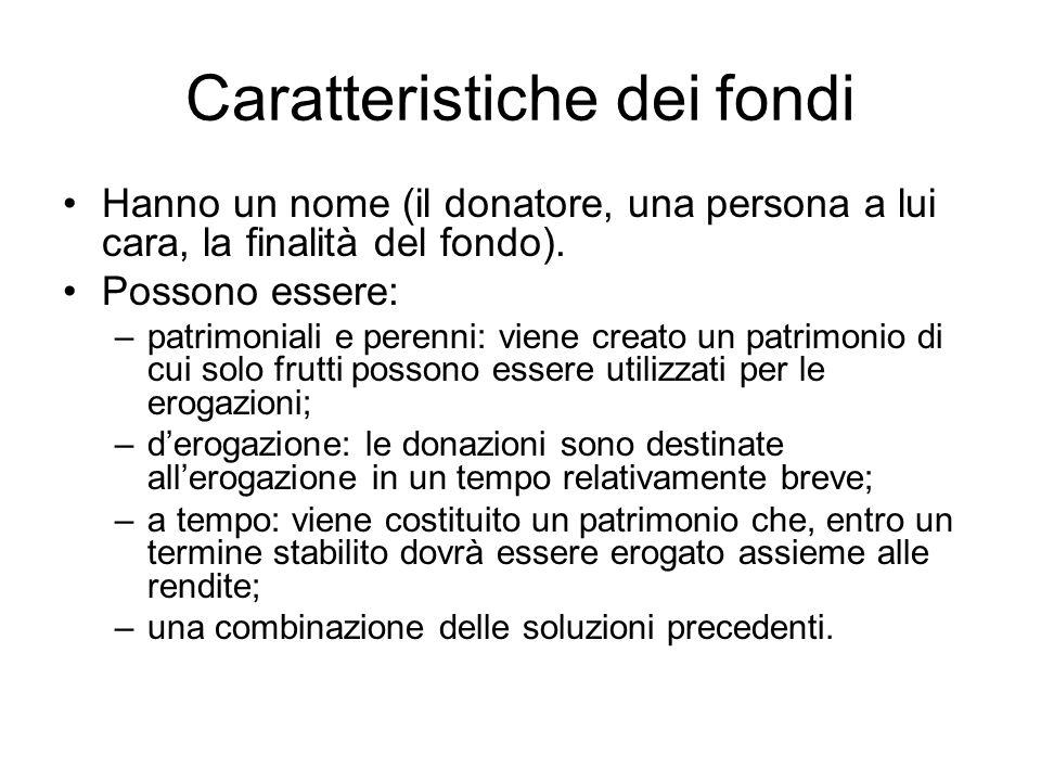 Caratteristiche dei fondi Hanno un nome (il donatore, una persona a lui cara, la finalità del fondo). Possono essere: –patrimoniali e perenni: viene c