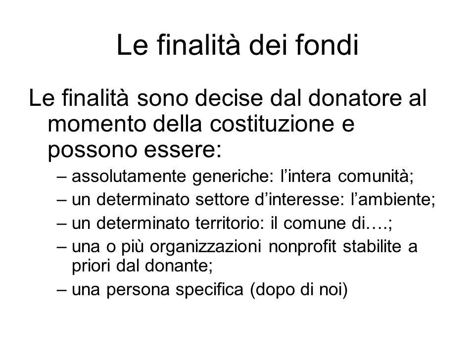 Le finalità dei fondi Le finalità sono decise dal donatore al momento della costituzione e possono essere: –assolutamente generiche: lintera comunità;