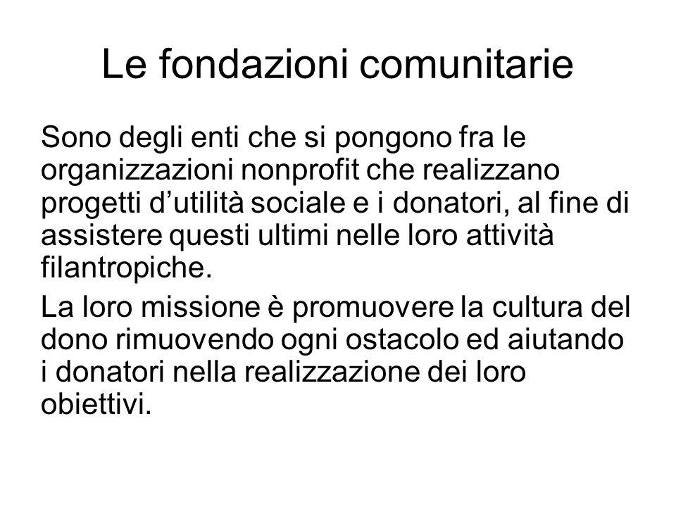 Le fondazioni comunitarie Sono degli enti che si pongono fra le organizzazioni nonprofit che realizzano progetti dutilità sociale e i donatori, al fin