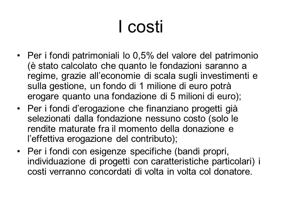 I costi Per i fondi patrimoniali lo 0,5% del valore del patrimonio (è stato calcolato che quanto le fondazioni saranno a regime, grazie alleconomie di