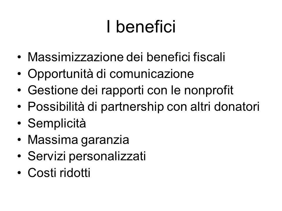 I benefici Massimizzazione dei benefici fiscali Opportunità di comunicazione Gestione dei rapporti con le nonprofit Possibilità di partnership con alt