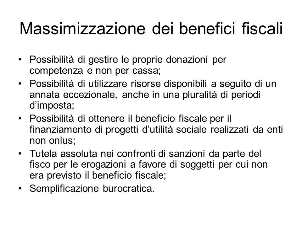 Massimizzazione dei benefici fiscali Possibilità di gestire le proprie donazioni per competenza e non per cassa; Possibilità di utilizzare risorse dis