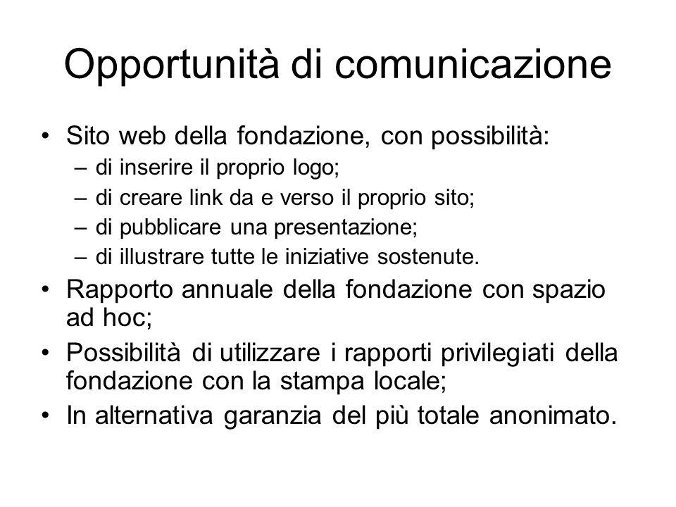 Opportunità di comunicazione Sito web della fondazione, con possibilità: –di inserire il proprio logo; –di creare link da e verso il proprio sito; –di