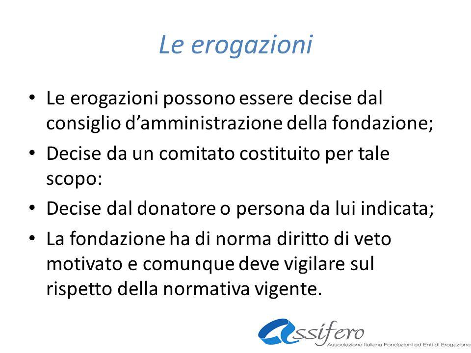 Le erogazioni Le erogazioni possono essere decise dal consiglio damministrazione della fondazione; Decise da un comitato costituito per tale scopo: De