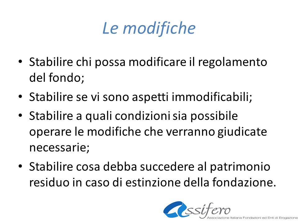 Le modifiche Stabilire chi possa modificare il regolamento del fondo; Stabilire se vi sono aspetti immodificabili; Stabilire a quali condizioni sia po
