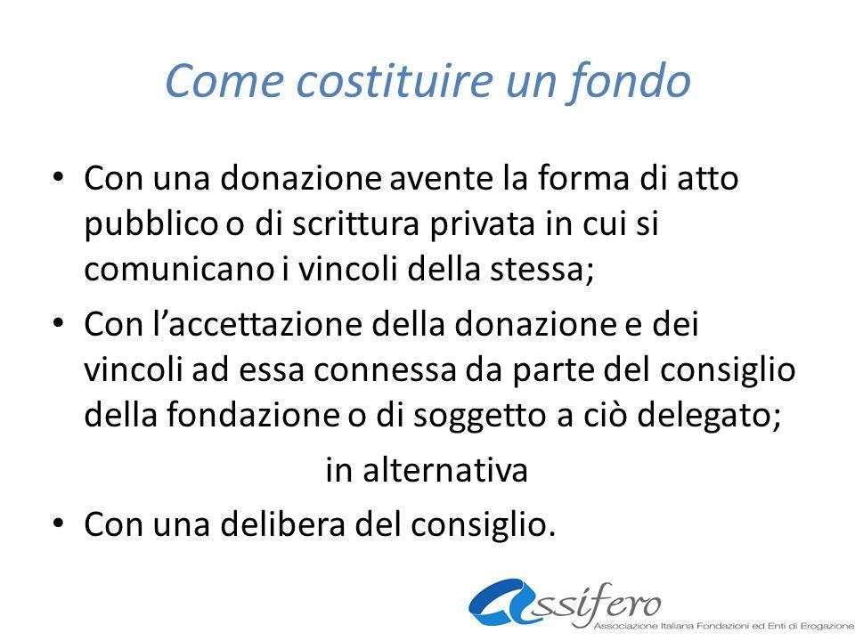 Come costituire un fondo Con una donazione avente la forma di atto pubblico o di scrittura privata in cui si comunicano i vincoli della stessa; Con la