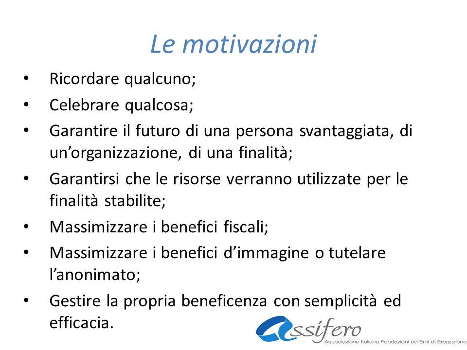 Le motivazioni Ricordare qualcuno; Celebrare qualcosa; Garantire il futuro di una persona svantaggiata, di unorganizzazione, di una finalità; Garantir