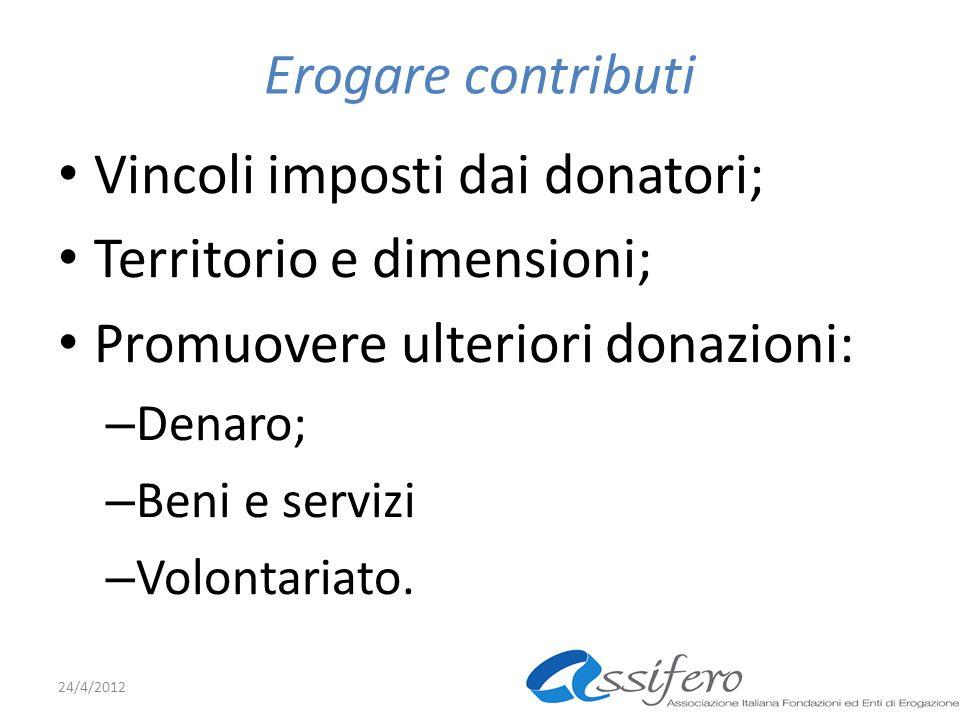Erogare contributi Vincoli imposti dai donatori; Territorio e dimensioni; Promuovere ulteriori donazioni: – Denaro; – Beni e servizi – Volontariato.