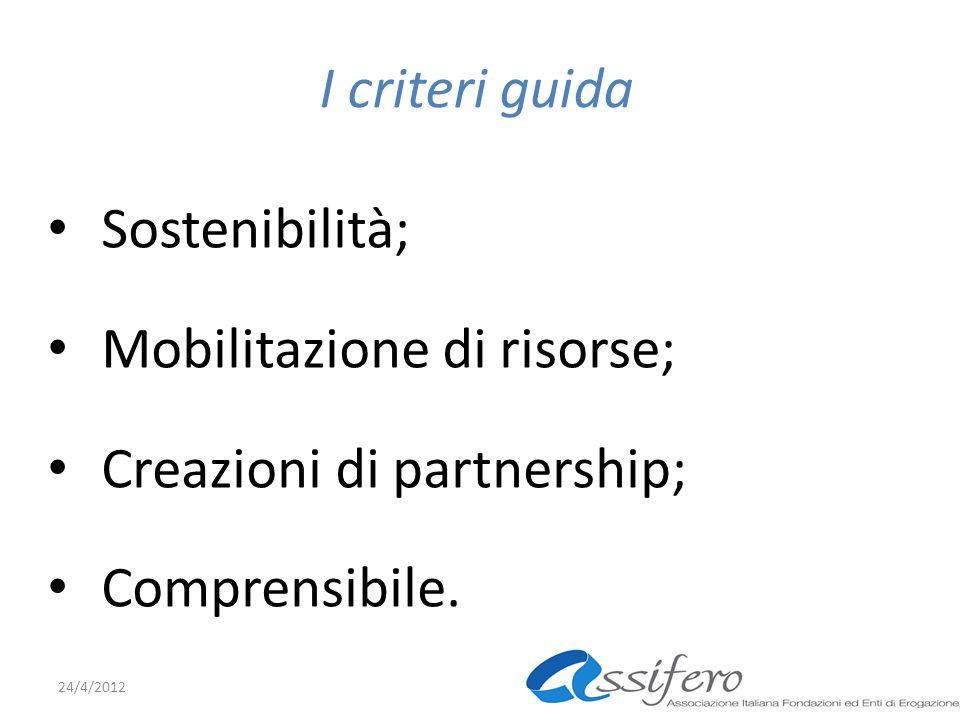 I criteri guida Sostenibilità; Mobilitazione di risorse; Creazioni di partnership; Comprensibile.