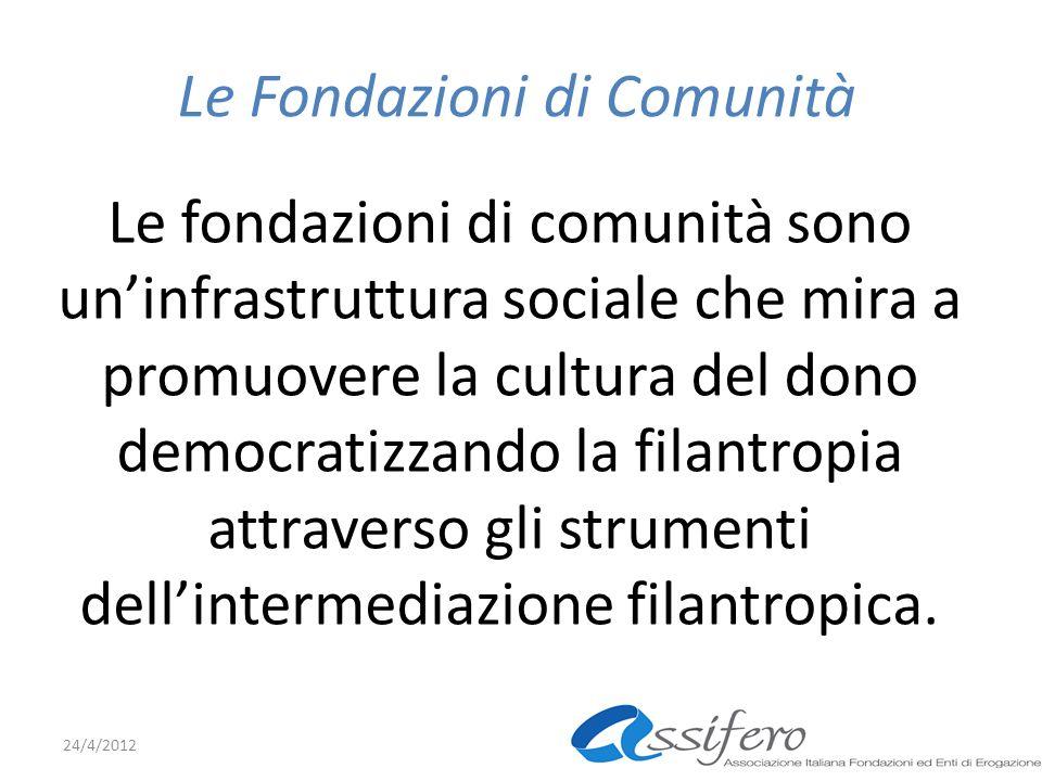 Le Fondazioni di Comunità Le fondazioni di comunità sono uninfrastruttura sociale che mira a promuovere la cultura del dono democratizzando la filantropia attraverso gli strumenti dellintermediazione filantropica.