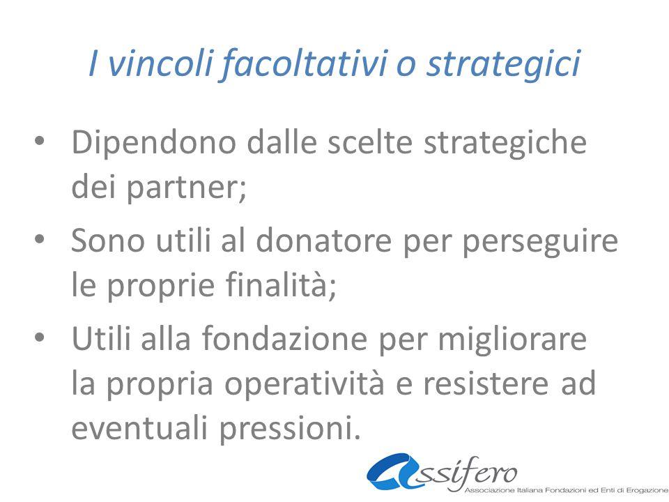 I vincoli facoltativi o strategici Dipendono dalle scelte strategiche dei partner; Sono utili al donatore per perseguire le proprie finalità; Utili alla fondazione per migliorare la propria operatività e resistere ad eventuali pressioni.
