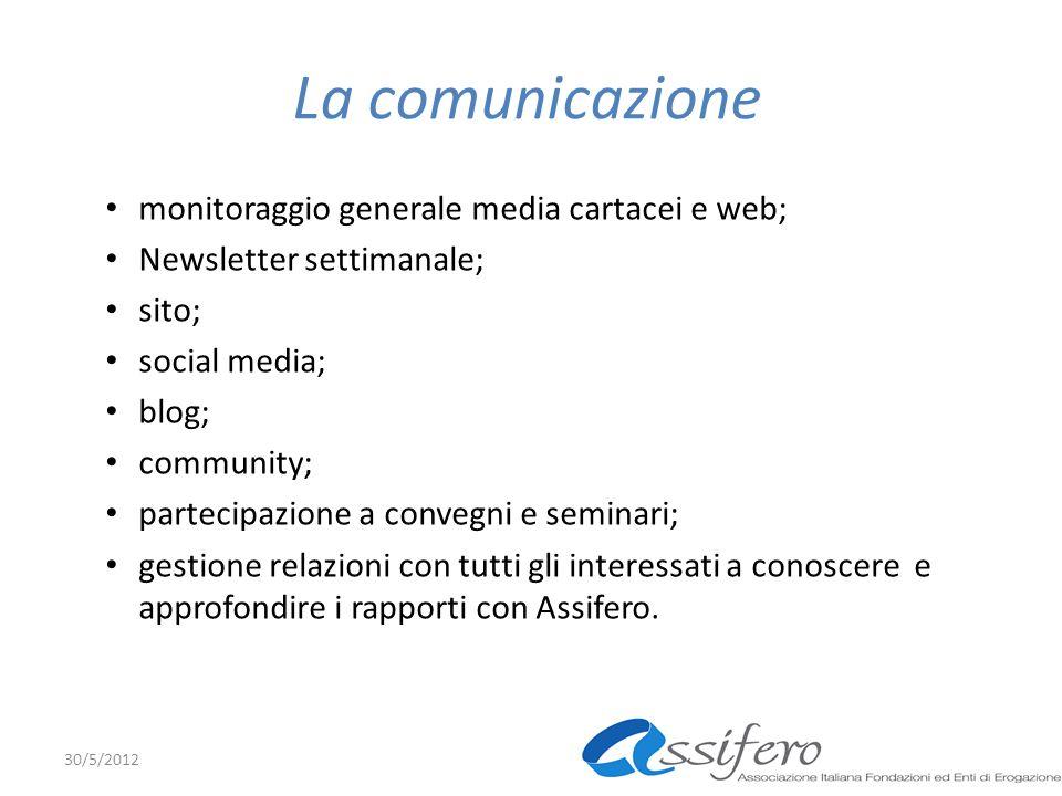 La comunicazione monitoraggio generale media cartacei e web; Newsletter settimanale; sito; social media; blog; community; partecipazione a convegni e seminari; gestione relazioni con tutti gli interessati a conoscere e approfondire i rapporti con Assifero.