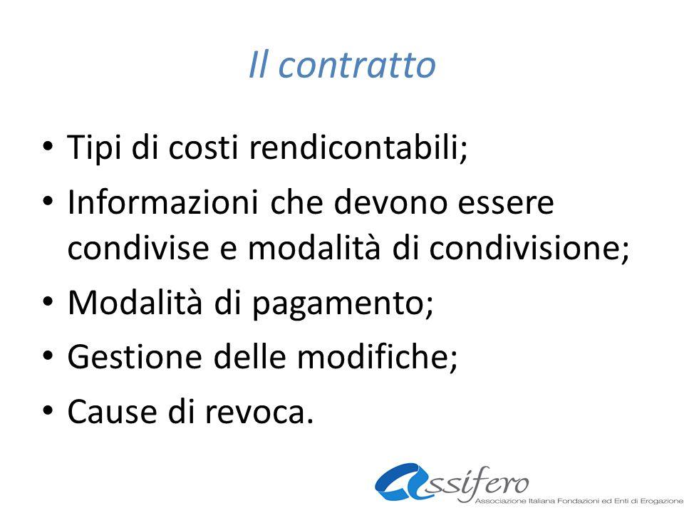 Il contratto Tipi di costi rendicontabili; Informazioni che devono essere condivise e modalità di condivisione; Modalità di pagamento; Gestione delle modifiche; Cause di revoca.