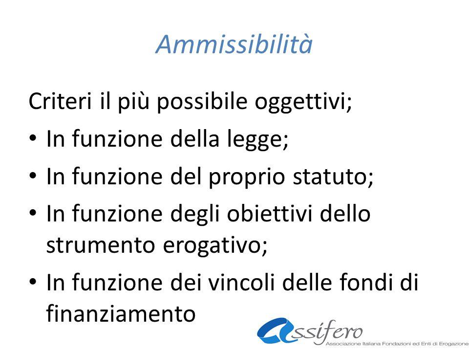 Ammissibilità Criteri il più possibile oggettivi; In funzione della legge; In funzione del proprio statuto; In funzione degli obiettivi dello strumento erogativo; In funzione dei vincoli delle fondi di finanziamento