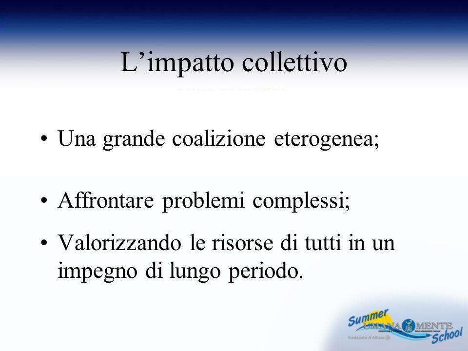 Limpatto collettivo Una grande coalizione eterogenea; Affrontare problemi complessi; Valorizzando le risorse di tutti in un impegno di lungo periodo.
