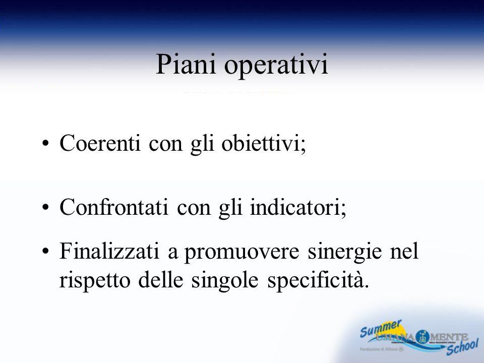 Piani operativi Coerenti con gli obiettivi; Confrontati con gli indicatori; Finalizzati a promuovere sinergie nel rispetto delle singole specificità.