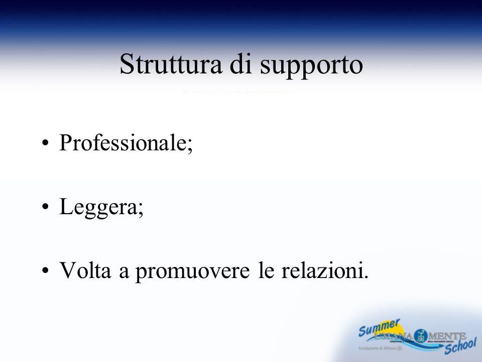 Struttura di supporto Professionale; Leggera; Volta a promuovere le relazioni.