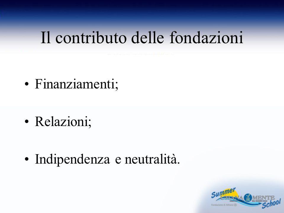 Il contributo delle fondazioni Finanziamenti; Relazioni; Indipendenza e neutralità.