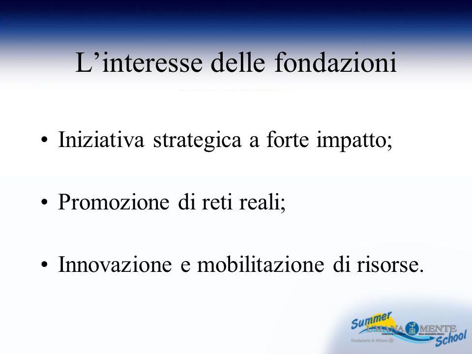 Linteresse delle fondazioni Iniziativa strategica a forte impatto; Promozione di reti reali; Innovazione e mobilitazione di risorse.