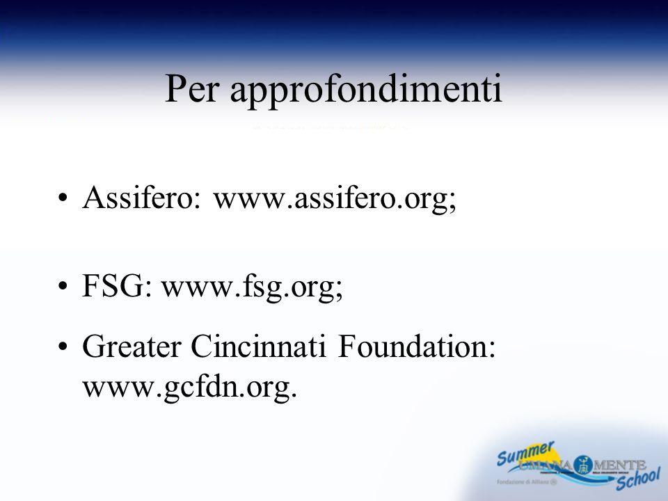 Per approfondimenti Assifero: www.assifero.org; FSG: www.fsg.org; Greater Cincinnati Foundation: www.gcfdn.org.