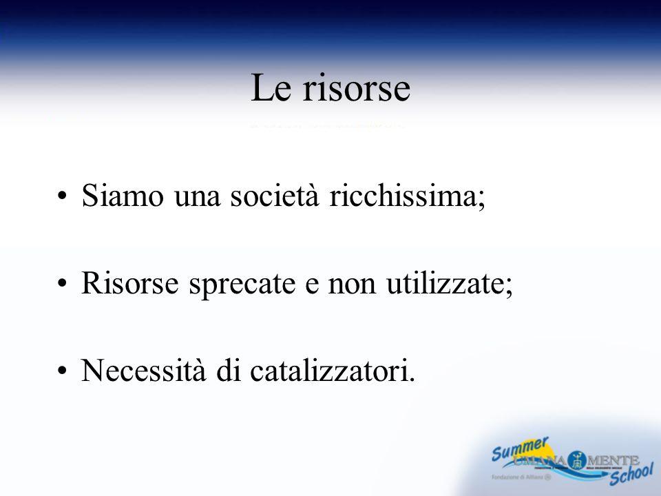 Le risorse Siamo una società ricchissima; Risorse sprecate e non utilizzate; Necessità di catalizzatori.