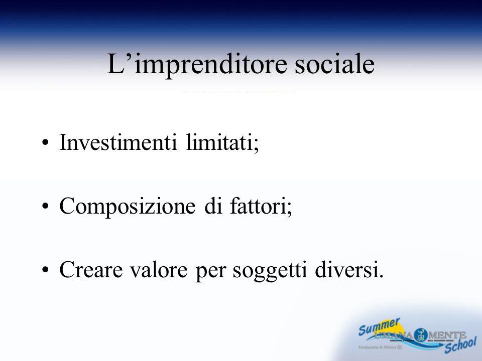 Limprenditore sociale Investimenti limitati; Composizione di fattori; Creare valore per soggetti diversi.