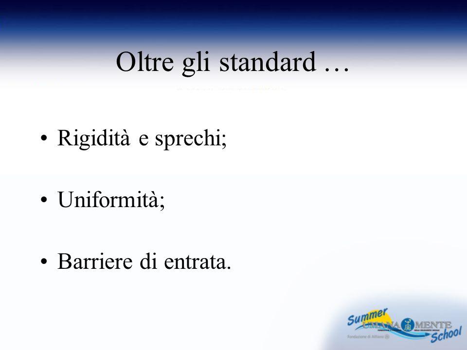 Oltre gli standard … Rigidità e sprechi; Uniformità; Barriere di entrata.