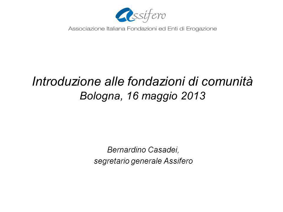 Introduzione alle fondazioni di comunità Bologna, 16 maggio 2013 Bernardino Casadei, segretario generale Assifero