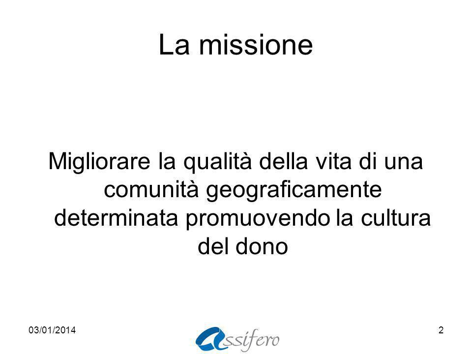 La missione Migliorare la qualità della vita di una comunità geograficamente determinata promuovendo la cultura del dono 03/01/20142