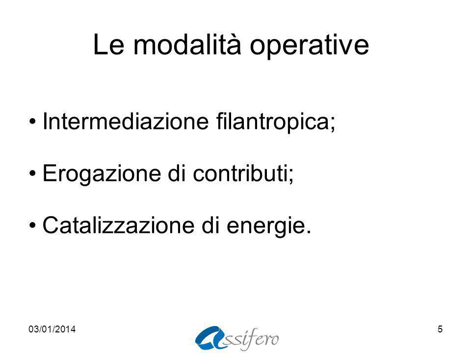Le modalità operative Intermediazione filantropica; Erogazione di contributi; Catalizzazione di energie.