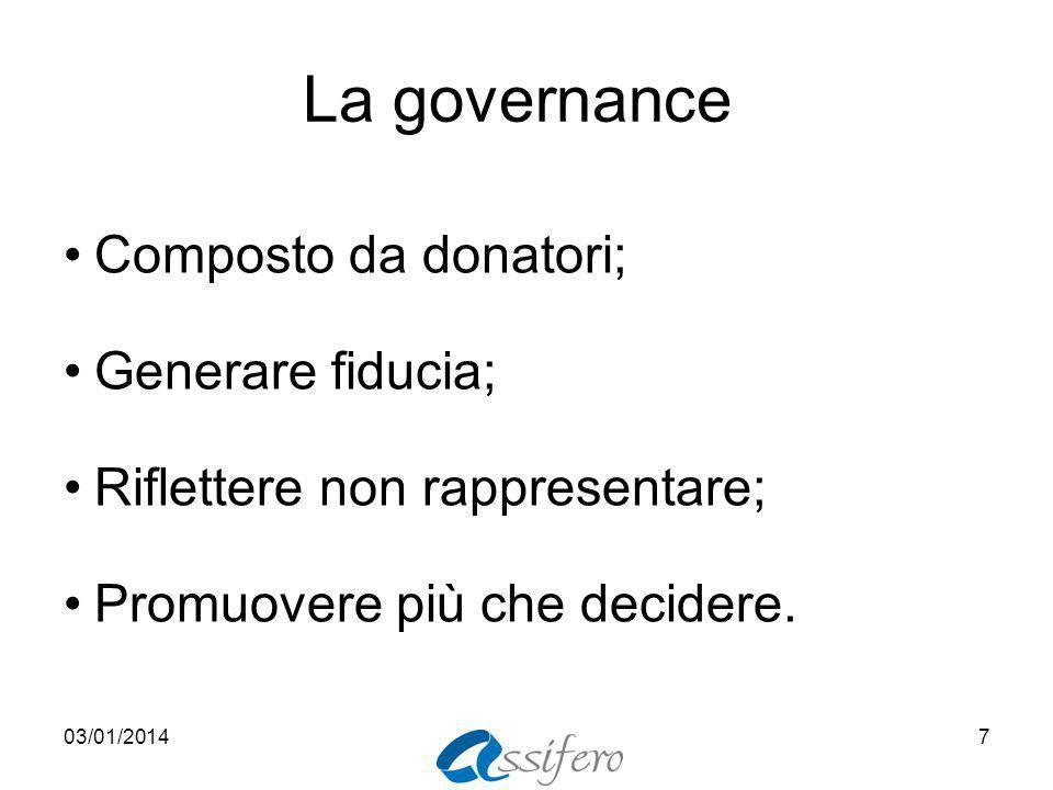 La governance Composto da donatori; Generare fiducia; Riflettere non rappresentare; Promuovere più che decidere.