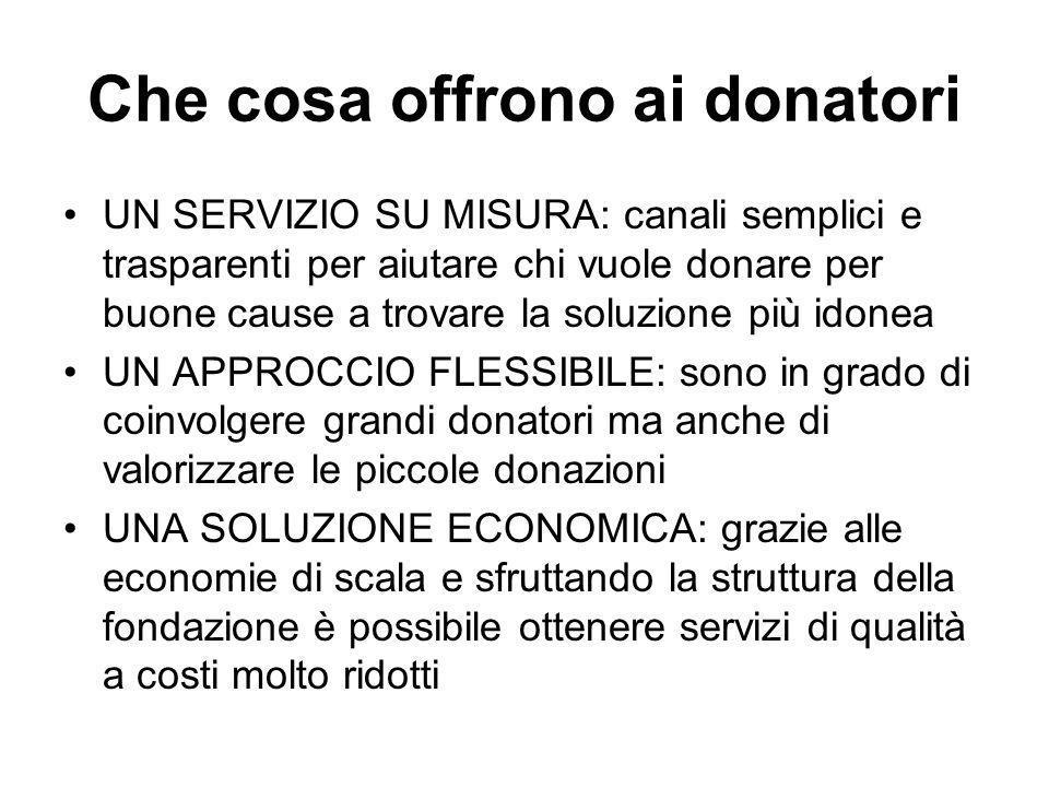 Che cosa offrono ai donatori UN SERVIZIO SU MISURA: canali semplici e trasparenti per aiutare chi vuole donare per buone cause a trovare la soluzione