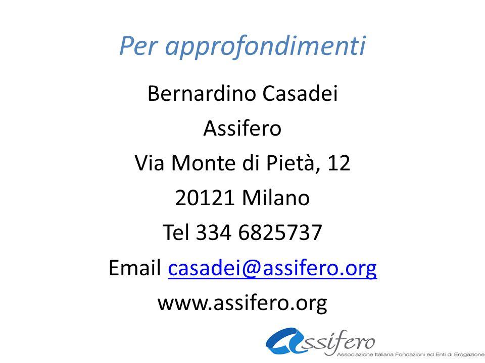 Per approfondimenti Bernardino Casadei Assifero Via Monte di Pietà, 12 20121 Milano Tel 334 6825737 Email casadei@assifero.orgcasadei@assifero.org www.assifero.org