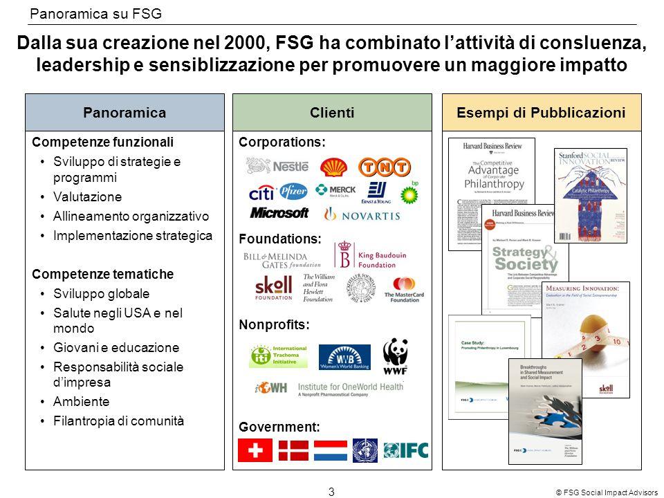 3 © FSG Social Impact Advisors Dalla sua creazione nel 2000, FSG ha combinato lattività di consluenza, leadership e sensiblizzazione per promuovere un