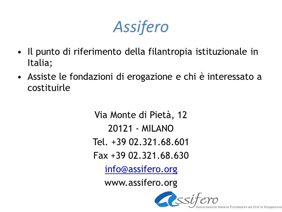 Assifero Il punto di riferimento della filantropia istituzionale in Italia; Assiste le fondazioni di erogazione e chi è interessato a costituirle Via Monte di Pietà, 12 20121 - MILANO Tel.