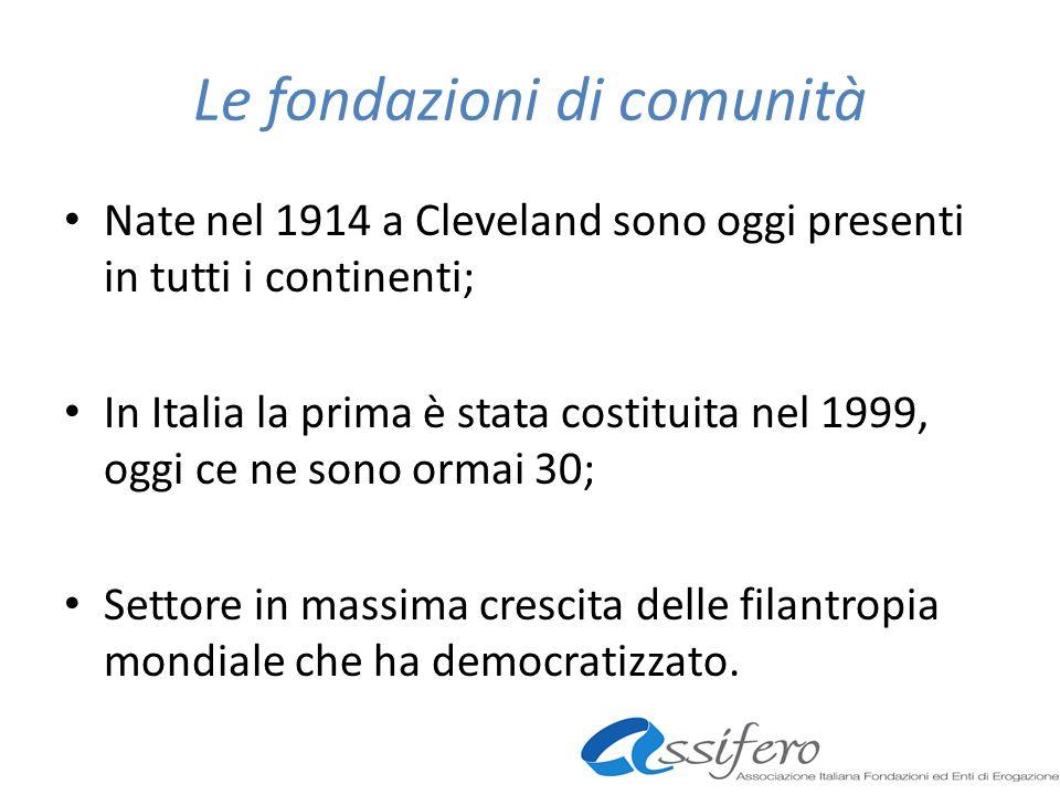 Le fondazioni di comunità Nate nel 1914 a Cleveland sono oggi presenti in tutti i continenti; In Italia la prima è stata costituita nel 1999, oggi ce ne sono ormai 30; Settore in massima crescita delle filantropia mondiale che ha democratizzato.