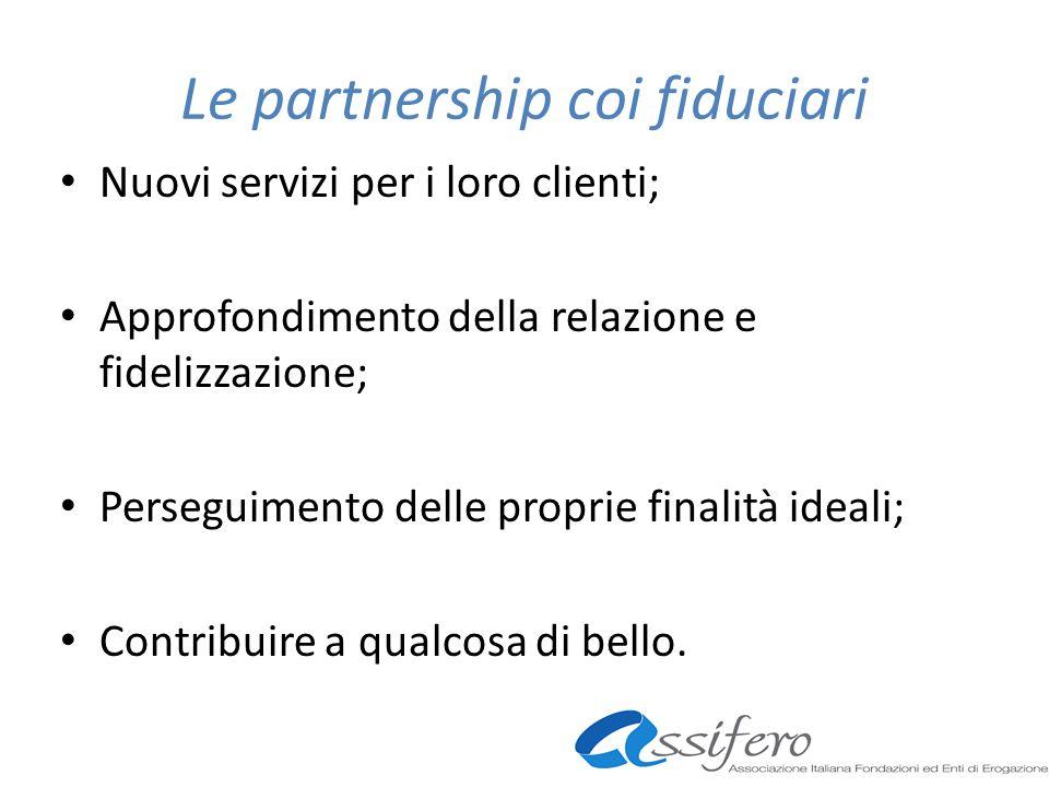 Le partnership coi fiduciari Nuovi servizi per i loro clienti; Approfondimento della relazione e fidelizzazione; Perseguimento delle proprie finalità ideali; Contribuire a qualcosa di bello.