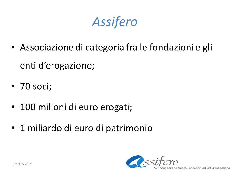 Assifero Associazione di categoria fra le fondazioni e gli enti derogazione; 70 soci; 100 milioni di euro erogati; 1 miliardo di euro di patrimonio 21/03/2011