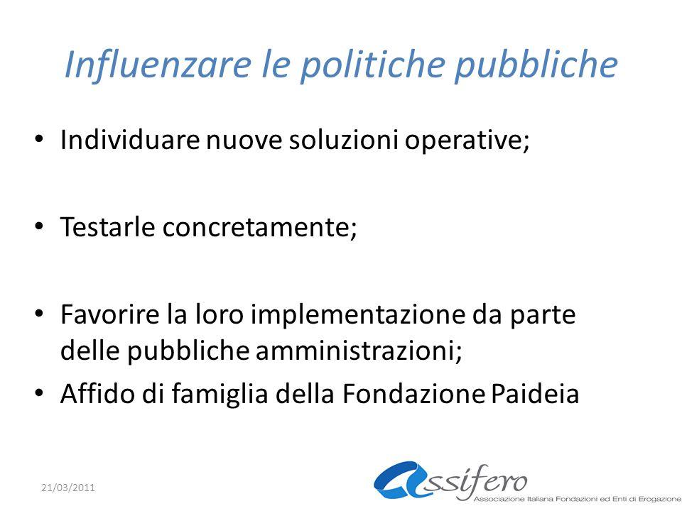 Influenzare le politiche pubbliche Individuare nuove soluzioni operative; Testarle concretamente; Favorire la loro implementazione da parte delle pubbliche amministrazioni; Affido di famiglia della Fondazione Paideia 21/03/2011