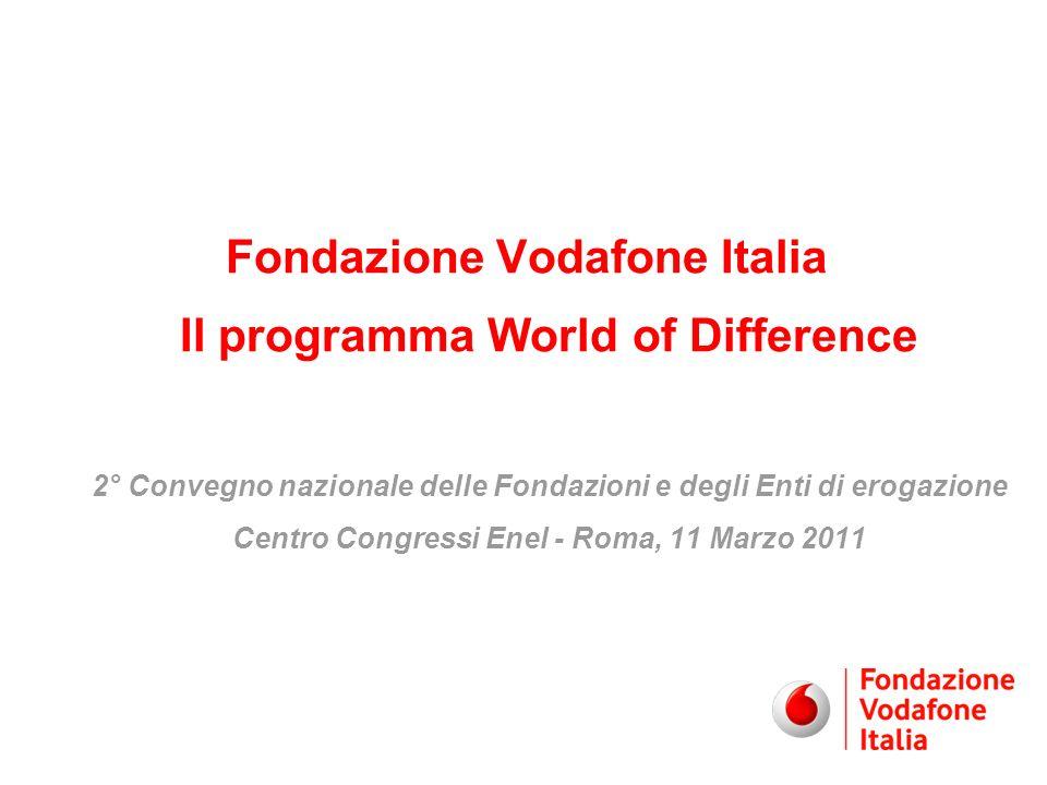 Fondazione Vodafone Italia Il programma World of Difference 2° Convegno nazionale delle Fondazioni e degli Enti di erogazione Centro Congressi Enel - Roma, 11 Marzo 2011