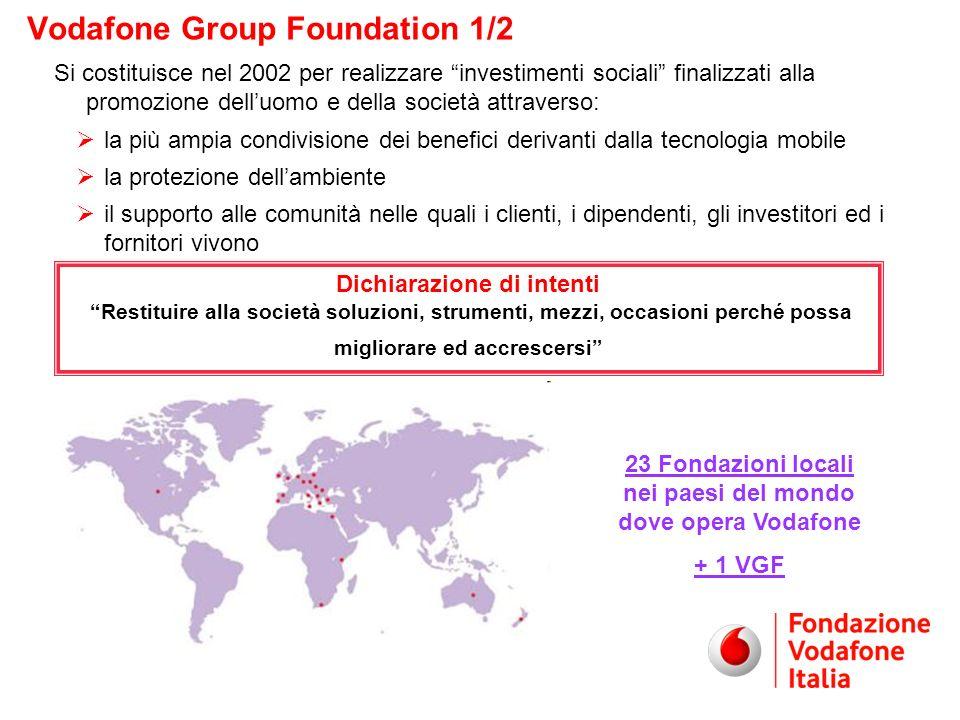 Si costituisce nel 2002 per realizzare investimenti sociali finalizzati alla promozione delluomo e della società attraverso: la più ampia condivisione dei benefici derivanti dalla tecnologia mobile la protezione dellambiente il supporto alle comunità nelle quali i clienti, i dipendenti, gli investitori ed i fornitori vivono Dichiarazione di intenti Restituire alla società soluzioni, strumenti, mezzi, occasioni perché possa migliorare ed accrescersi Vodafone Group Foundation 1/2 23 Fondazioni locali nei paesi del mondo dove opera Vodafone + 1 VGF