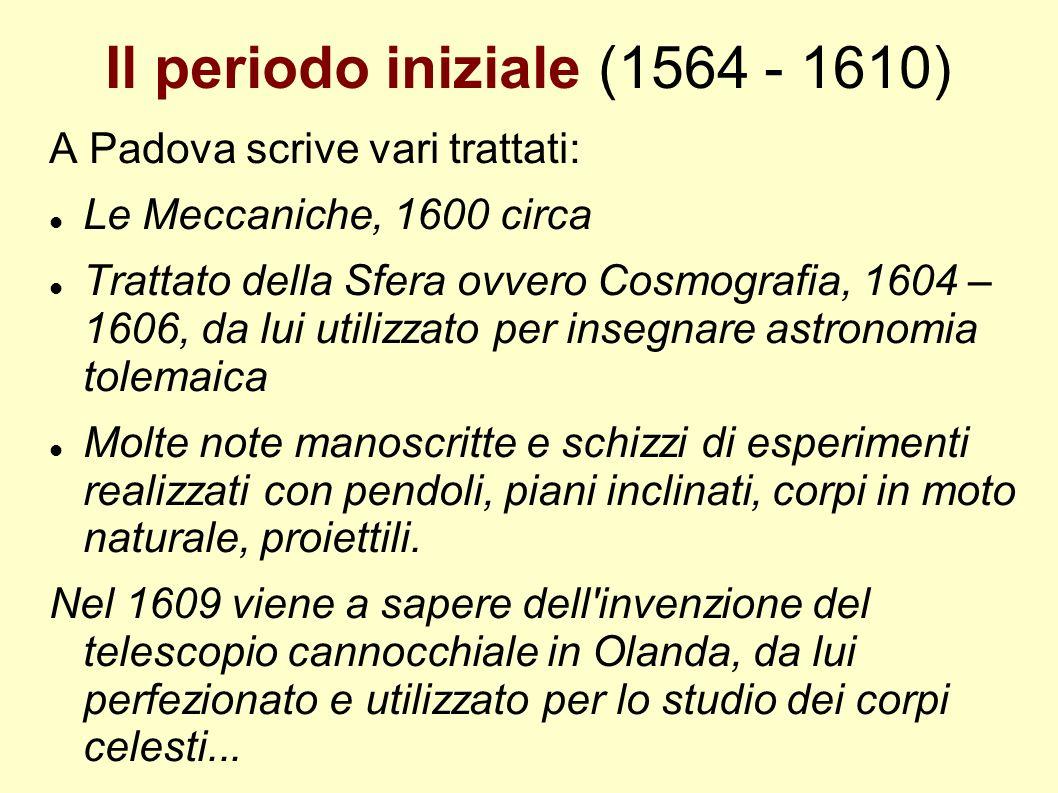 Il periodo iniziale (1564 - 1610) A Padova scrive vari trattati: Le Meccaniche, 1600 circa Trattato della Sfera ovvero Cosmografia, 1604 – 1606, da lu