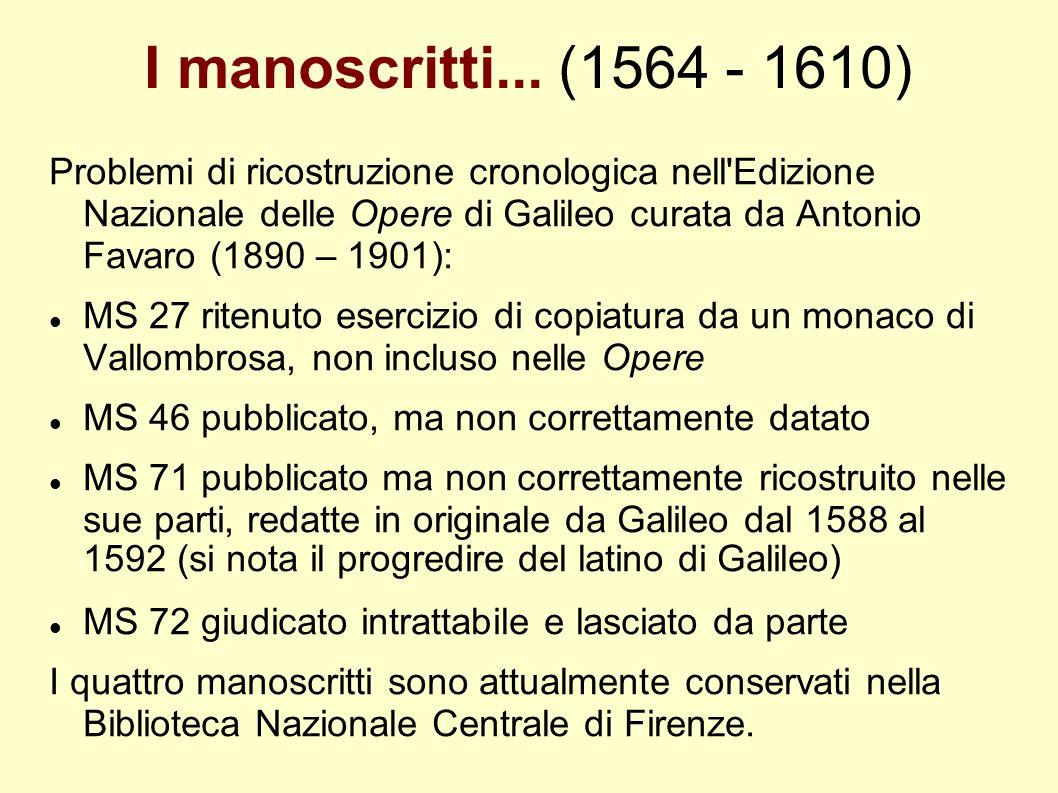 I manoscritti... (1564 - 1610) Problemi di ricostruzione cronologica nell'Edizione Nazionale delle Opere di Galileo curata da Antonio Favaro (1890 – 1