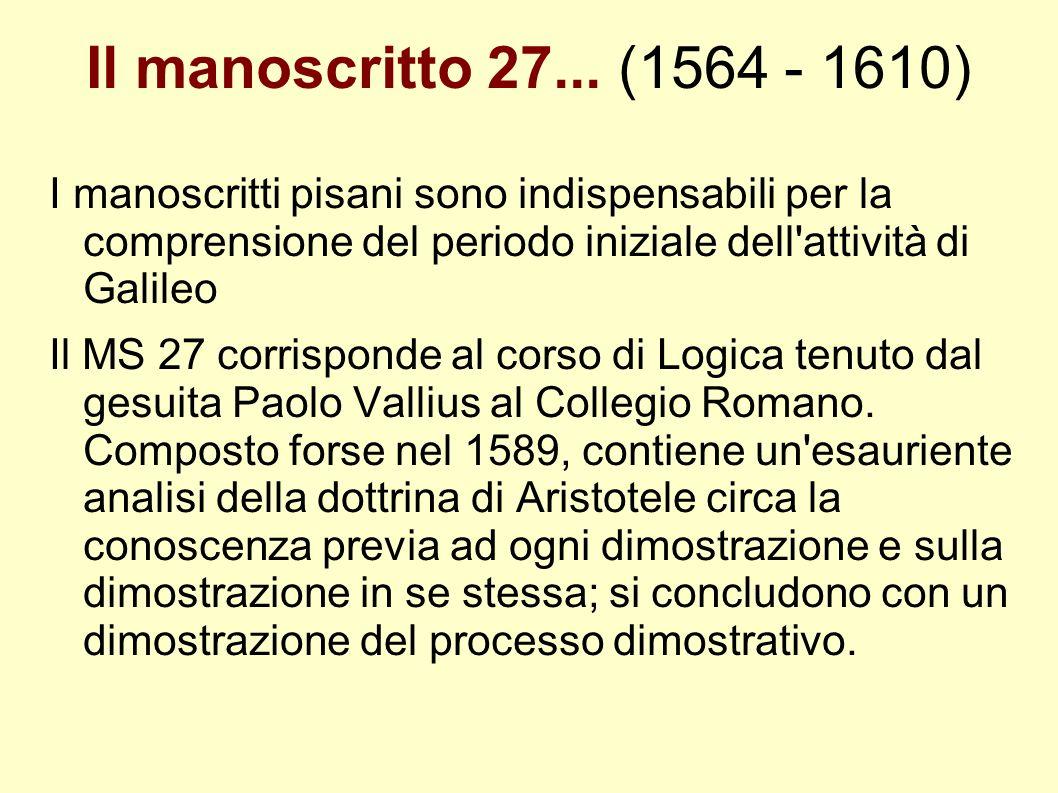 Il manoscritto 27... (1564 - 1610) I manoscritti pisani sono indispensabili per la comprensione del periodo iniziale dell'attività di Galileo Il MS 27