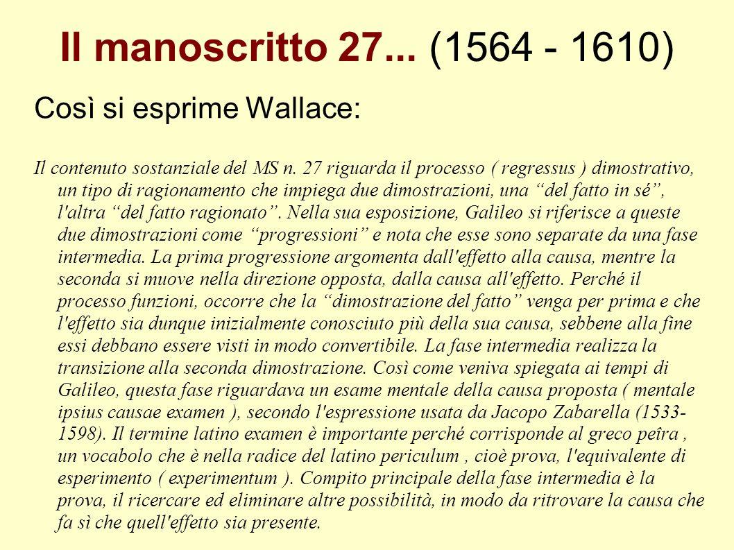 Il manoscritto 27... (1564 - 1610) Così si esprime Wallace: Il contenuto sostanziale del MS n. 27 riguarda il processo ( regressus ) dimostrativo, un