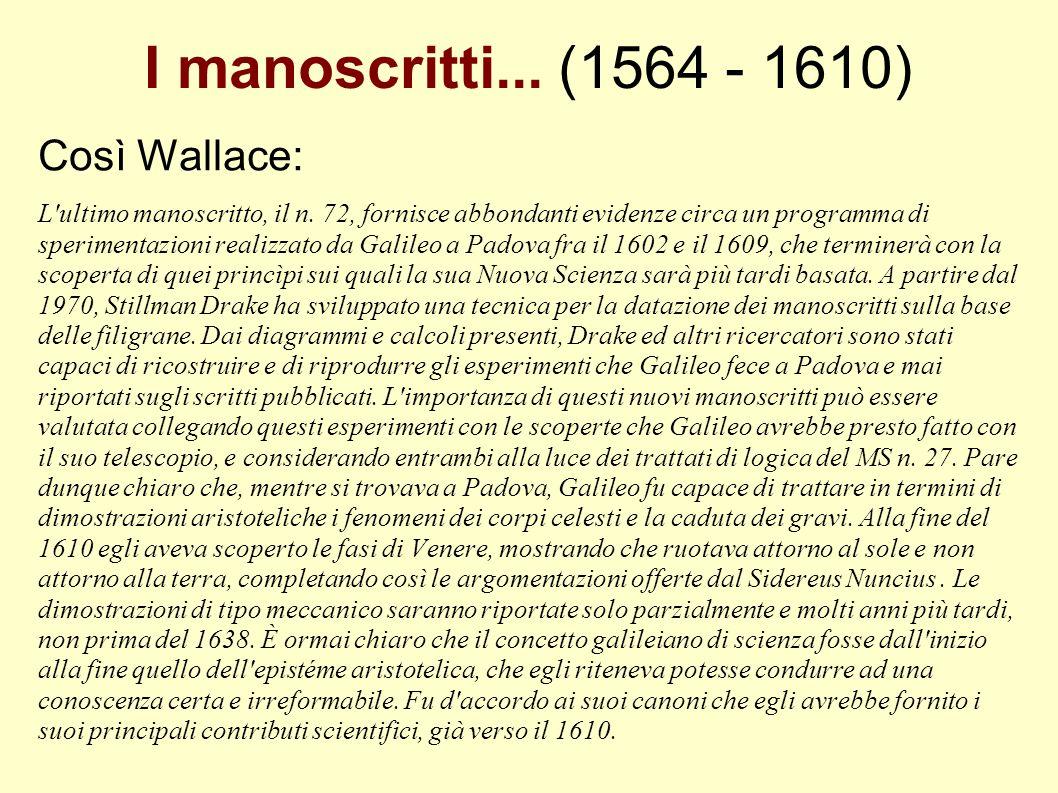 I manoscritti... (1564 - 1610) Così Wallace: L'ultimo manoscritto, il n. 72, fornisce abbondanti evidenze circa un programma di sperimentazioni realiz